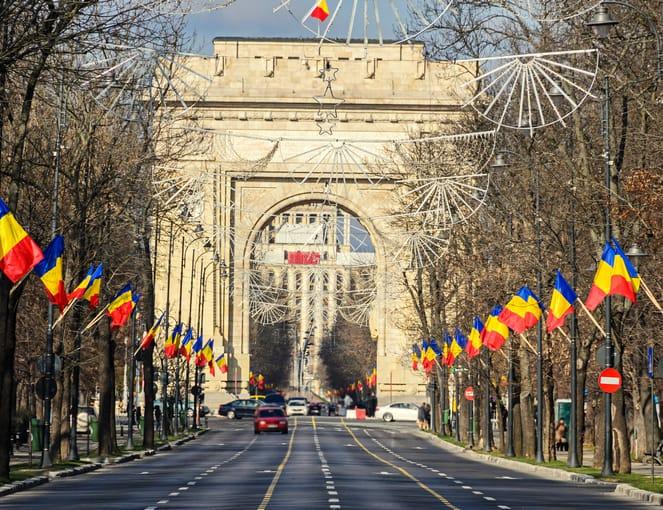 מבט לכיוון שער הניצחון בבוקרשט רומניה